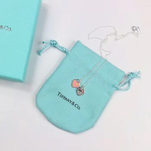 Tiffany&co. Mini Double Heart Tag Pendant Necklace